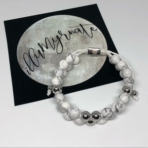 Natural Howlite & Silver Stainless Steel Bracelet